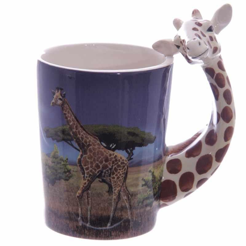 Giraffe shaped handle mug for Animal shaped mugs