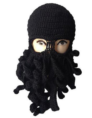 6b16c07bc78 Black Octopus Knitted Balaclava Beanie Hat