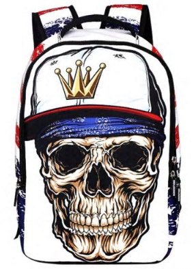 Skull Wearing  a Baseball Hat Backpack